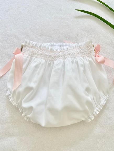 Ranita en Batista blanca con bordados rosa bebé
