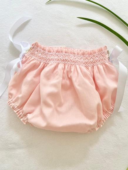 Ranita en Batista rosa bebé con bordados en blanco