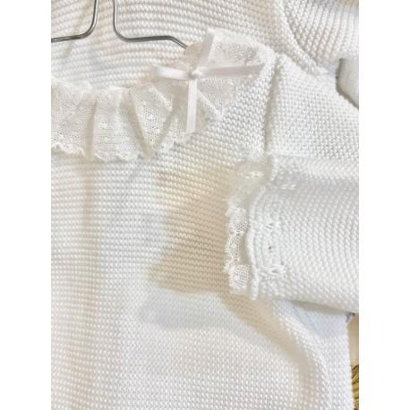 Pelele largo punto bobo blanco