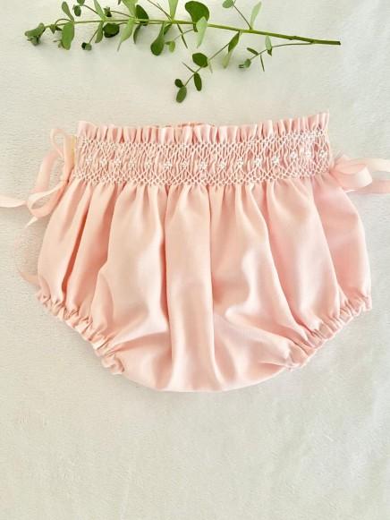 Bragueta algodón punto smock rosa bebé con blanco
