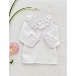 Batista color blanco con detalle rosa bebé