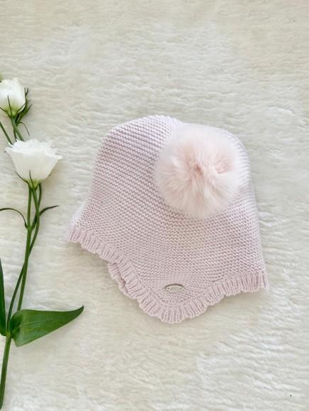 Gorro punto Bobo color rosa bebé