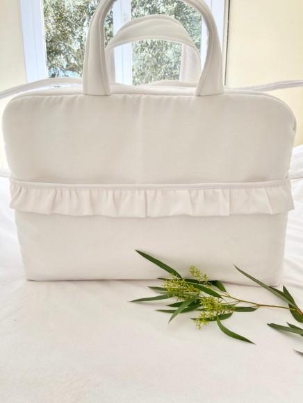 Bolsa de maternidad en tejido de piqué blanco de nido de abeja